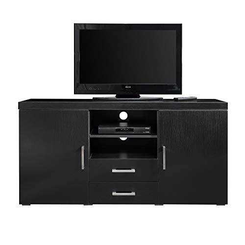 Buffet-Meuble TV-avec tiroir et étagères Noir