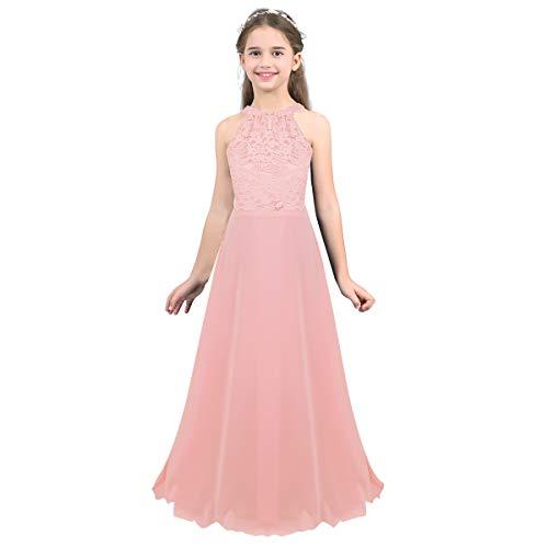 Tiaobug Mädchen Kleid Kinder festlich Spitzen langes Kleid Hochzeit Partykleid Blumenmädchenkleid 104 116 128 140 152 164 Pink B 140/10Jahre