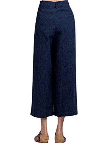 Youlee Femmes Été Printemps Taille haute Pantalon jambe large Blau