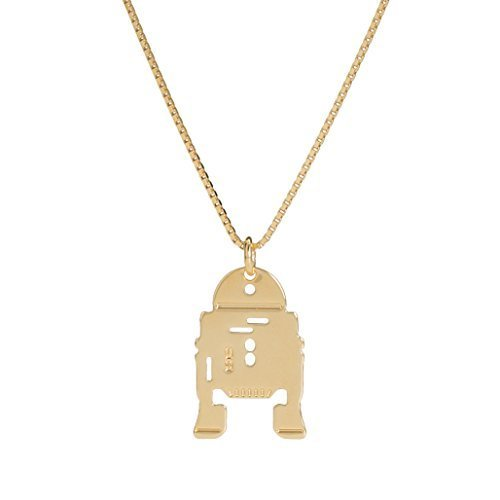 Malaika Raiss Damen Halskette Star Wars R2-D2 Anhänger 24 Karat vergoldet - SW3101 (Gold Karat 24 Kette)