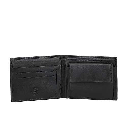 Nuvola Pelle Portefeuille pour Homme Classique en Cuir avec Porte-Monnaie et Porte-Cartes de crédit Noir