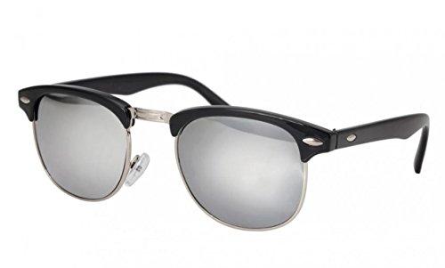 Wodison retro pagina mezza occhiali da sole cerchiati proteggere dai raggi uv (telaio nero e l'obiettivo d'argento)