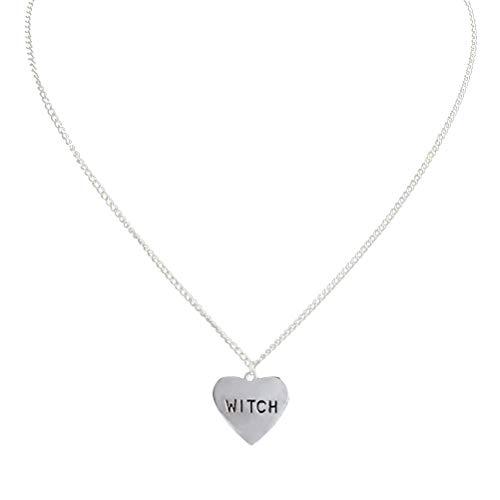 TENDYCOCO Hexe Halskette Einfache Herzform Hals Dekor Halloween Ornament für (Halloween Dekor Hexen)