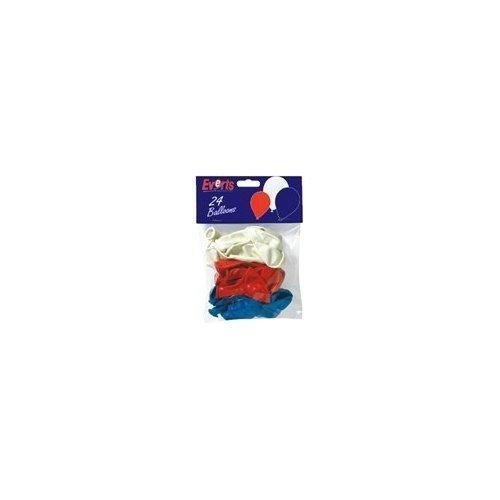 Latex-Ballons, 24,5 cm, rot, weiß und blau, 24 Stück (Royal Latex-luftballons Blau)
