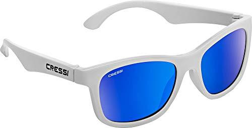 Cressi kiddo sunglasses, occhiali da sole per bambino unisex 6+ anni, bianco/lenti specchiate blu