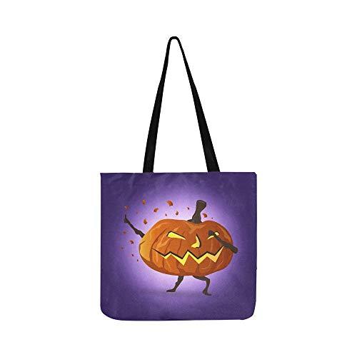 (Tupfende Nacht Halloween Kürbis Cartoon Charakter Leinwand Tote Handtasche Umhängetasche Crossbody Taschen Geldbörsen für Männer und Frauen Einkaufstasche)