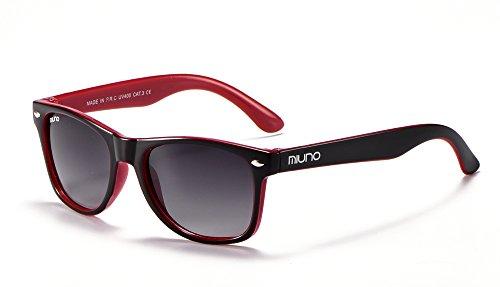 Miuno Kinder Sonnenbrille Wayfare für Jungen und Mädchen Etui 2688 (Schwarz/Rot)