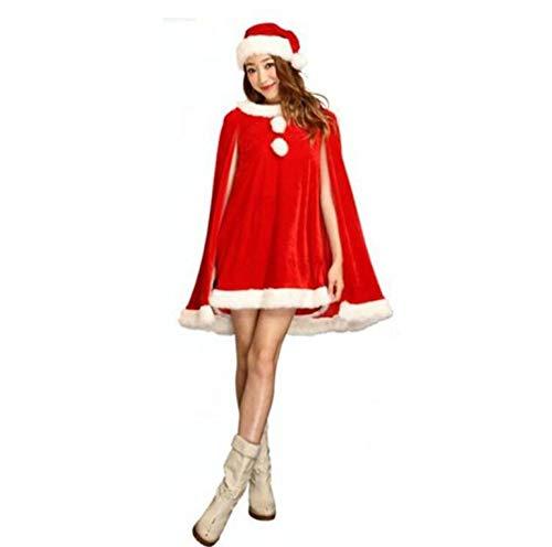 Shisky Weihnachtskostüme,Grüne Weihnachten Kleid weibliche Erwachsene Weihnachten Kleid ds Leistung Santa Claus ELF roten ()