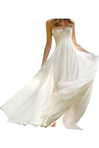 Fanciest Women's Sweetheart Beaded Chiffon Beach Wedding Kleides for Bride  2016 Ivory