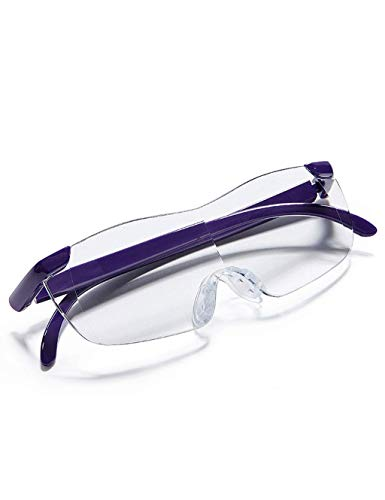 Keepmoving Professional 1,8 fach Vergrößerungslupe Freihand-Lupe Brille Überbrille Brillenlupe 180% +3,0 Lesebrille (Lila)