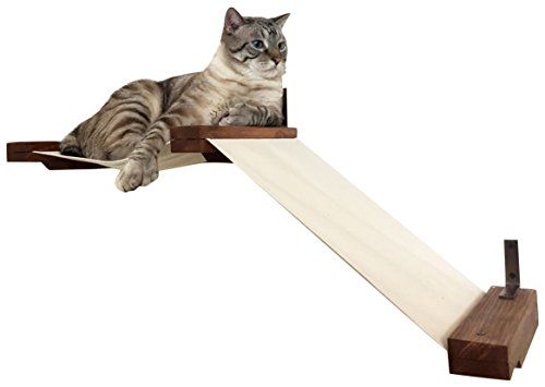 CatastrophiCreations  Fabric Raceway Hammock Lounger Wall-Mounted Cat Shelving, Onyx, Small