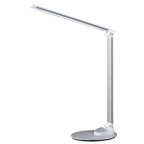 Miroco LED Schreibtischlampe mit USB-Ladeanschluss, Ultradünn Tischlampen aus Aluminiumlegierung, 5 Farbtemperaturen, 5 Helligkeitsstufen, Augenpflege, Langer Lebensdauer und Energieeffiziente LED