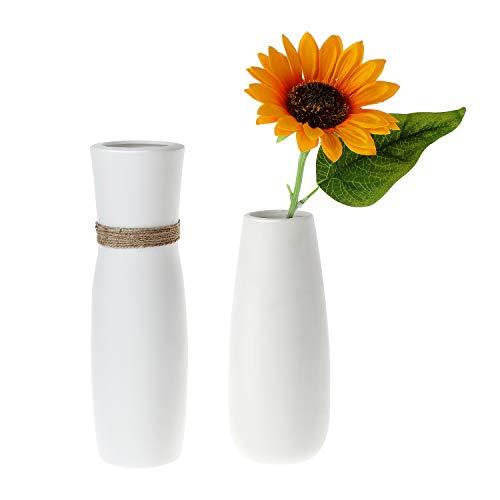 ComSaf 25cm Matte Blumenvasen Keramik Hoch, Porzellan Tischvasen, Weiß 2er-Set