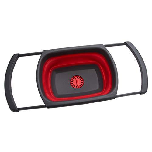 Chshe®-Micro-Perforated Colander, Klappbarer Abflusskorb Tragbares Klapp-Picknickbecken Mit Wasserleck-Funktion, Waschsieb (Rot) Deep Colander