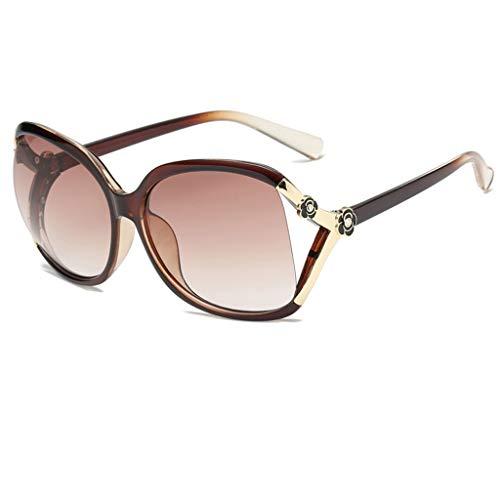DFZJJ Sonnenbrillen Sonnenbrillen weibliche Anti-uv größe runde Gesicht Sonnenbrille (Color : Brown, Size : 14.2cm)