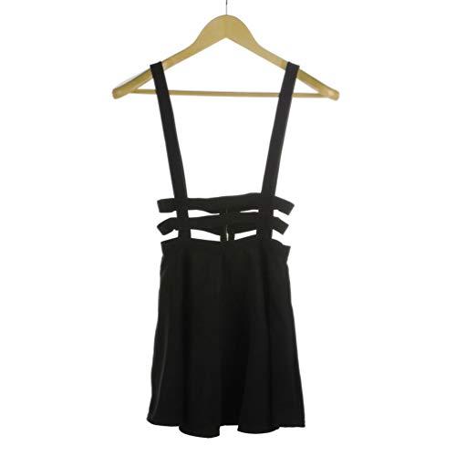 Women Pleated Suspender Skirt Braces Hollow Out Bandage Mini Skater Dress Black -