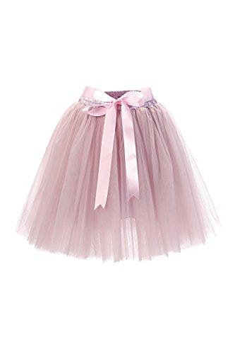 Babyonline® Damen Prinzessin Falten Rock Vintage Kleid Spitzen Rock Midirock Ballettrock Tüllrock Unterrock Knielang, Grau Rosa, One Size / - 60er Jahre Brautkleid Kostüm