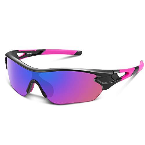Gafas de sol polarizadas deportivas para hombres, mujeres, jóvenes, béisbol, ciclismo, correr, conducir, pescar, golf, motocicleta, tac, gafas (Negro Rosa)