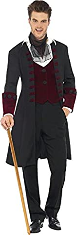 Fever, Herren Gothic Vampir Kostüm, Mantel, Mock Weste und Krawatte, Größe: L, 21323 (Smiffys Fever Kostüme)