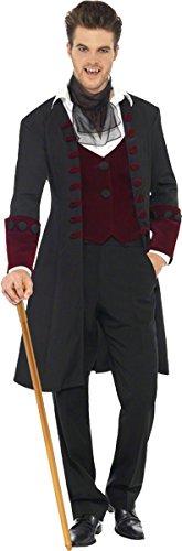 Gothic Kostüme (Fever, Herren Gothic Vampir Kostüm, Mantel, Mock Weste und Krawatte, Größe: L,)