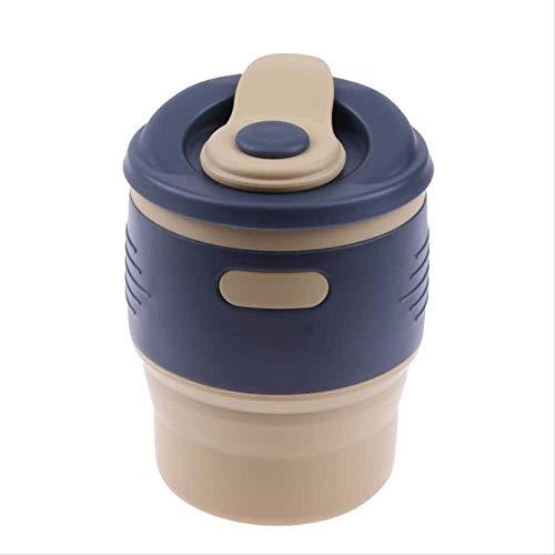 KOUAJ Taza de Agua 350ml Plegable Silicona Tazas De Café De Viaje con Tapa Anti-Polvo Sello Aislamiento Agua Agua Al Aire Libre Botellas Al Aire Libre Amarillo Malt