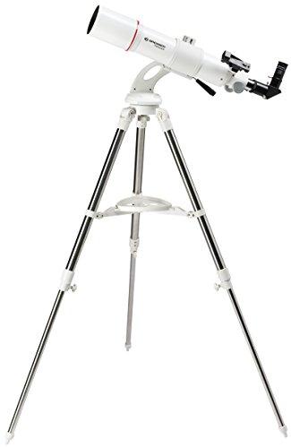 Bresser Teleskop Messier AR-80/640 Nano Linsenteleskop mit Stativ, AZ Montierung für einfache Handhabung, Smartphone Kamera Adapter und umfangreichem Zubehör für Einsteiger, weiß