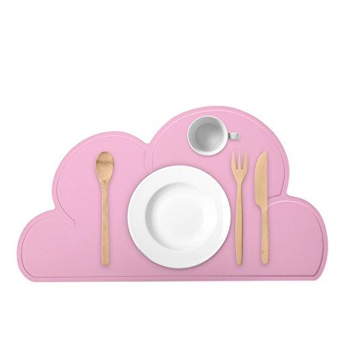, Kinder Silikon Untersetzer Tisch-Sets Platzset, Wolken-Form, abwaschbar Rutschfeste Tragbar Tischunterlage Tisch Essen Dekoration für Babys Kleinkinder (Cute Tee-sets)