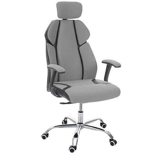 Mendler Bürostuhl HWC-F12, Schreibtischstuhl Drehstuhl Chefsessel, Sliding-Funktion Stoff/Textil + Kunstleder ~ grau/schwarz