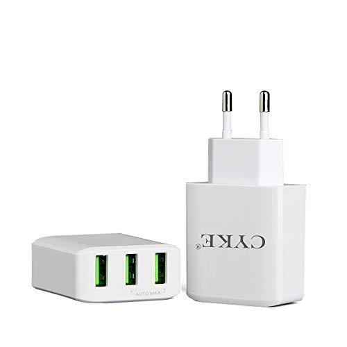 Preisvergleich Produktbild NBWS Reiseadapter Universal USB Ladegerät Stecker 20W 3-Port Ladegerät mit austauschbarem Adapter für iPhone iPad Android Samsung Handys,  Tablets und Kindle, EU