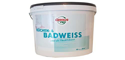 Genius pro Küchen & Badweiss Wandfarbe ideal für Feuchträume Weiß Seidenmatt 10 Liter