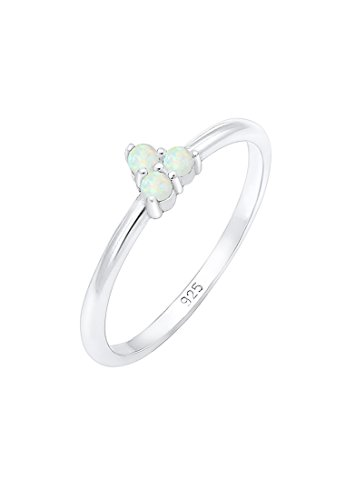 Elli Damen-Ring, 925 Sterling Silber mit Brillantschliff Opal, Größe 52 (16.6) - 0603710618_52