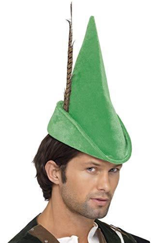 Robin Hood Mütze Grün mit Feder Deluxe, One - Deluxe Robin Hood Kind Kostüm