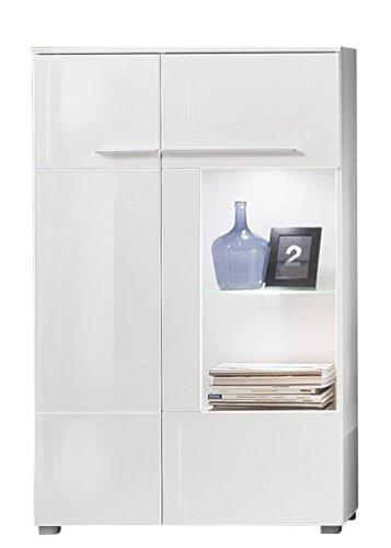 trendteam Wohnzimmer Vitrine Schrank Highboard Wohnzimmerschrank Vision, 80 x 135 x 35 cm in Korpus Weiß, Front Weiß Hochglanz mit reichlich Platz für Dekoration