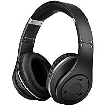 Selectec 4.1Bluetooth auriculares más de oído Wireless & Wired Auriculares plegable cancelación de ruido auriculares de diadema con micrófono integrado para Apple Iphone IPOD IPAD SAMSUNG LG juegos TV pc- negro