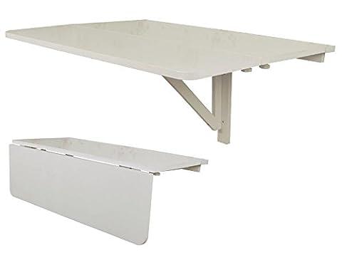 SoBuy FWT02-W Table murale en bois à abattant deux dimensions Blanc 60 x 80 cm