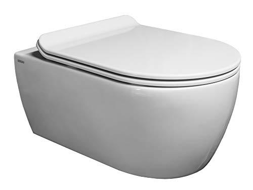 SSWW | Design Hänge-WC ABWCSR003Ultra | Toilette inkl. flachen Sitz mit Absenkautomatik| Spülrandlos | Lotus-Effekt | modernes Design | 545x360mm