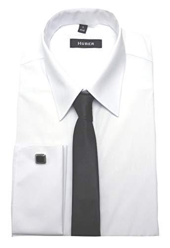 HUBER Manschettenhemd Weiss mit Krawatte u. Man.knöpfe XXL