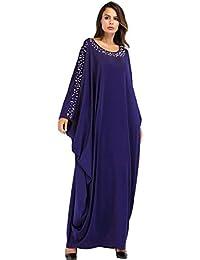 MEYINI Abito Donna Kaftan Farasha - Maxi Vestito Lunghi islamici Arabi Arabi  Girocollo Abaya Jilbab a5e0c299be5
