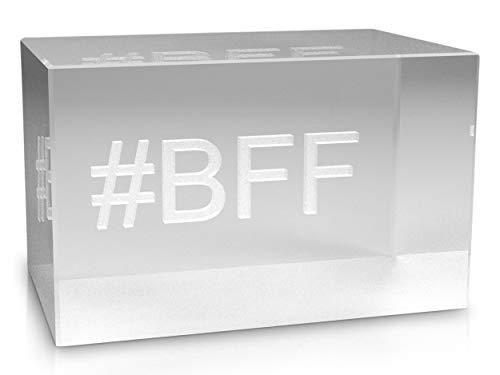 VIP-LASER 3D Glas Kristall mit Hashtag #BFF für Best Friends forever graviert - das perfekte Geschenk für wahre Freunde und Freundschaften!