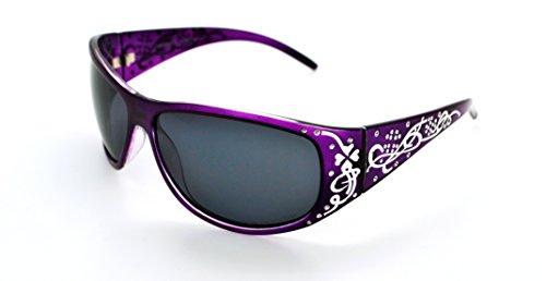 VOX Polarisierend Trendy Klassisch Hohe Qualität Damen Hot Modische Sonnenbrille w/GRATIS Mikrofaser Beutel - Lila Rahmen - Rauchglas