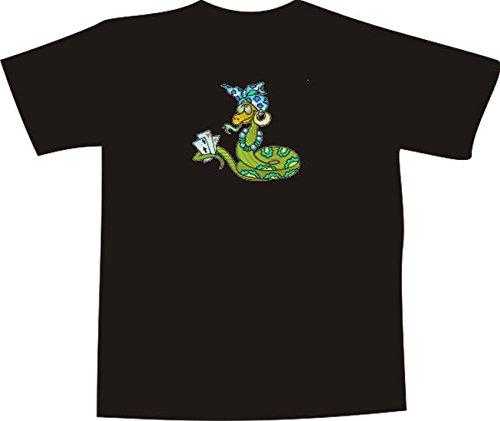 T-Shirt E860 Schönes T-Shirt mit farbigem Brustaufdruck - Logo / Grafik - Comic Design - lustige bunte Schlange mit Kopftuch spielt Poker Schwarz