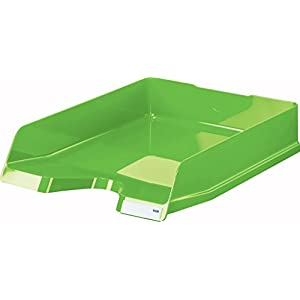 HAN 10275-90, VIVA Letter Tray. Glossy designer letter tray in premium quality, with labelling clip, high-gloss, pack of 5, New Colours green