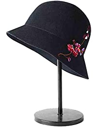 SUN Cloche Redondas para Sombreros para Mujer Bordado con Lentejuelas Fedora  Cubo Diseño De Flores Gorro 18a877b24a9