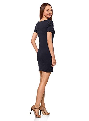 oodji Ultra Damen Enges Kleid mit V-Ausschnitt Blau (7900N)