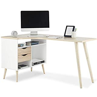 VonHaus L-Shaped Computer Desk Scandinavian Nordic Style - White and Light Oak Effect with Tapered Legs Corner Workstation - Modern, Contemporary Home Office Furniture