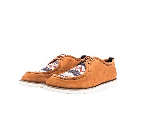 Mondrian - Chaussures style indien de cuir de haute qualité, avec une décoration originale textile native imprimée - Homme Print orange