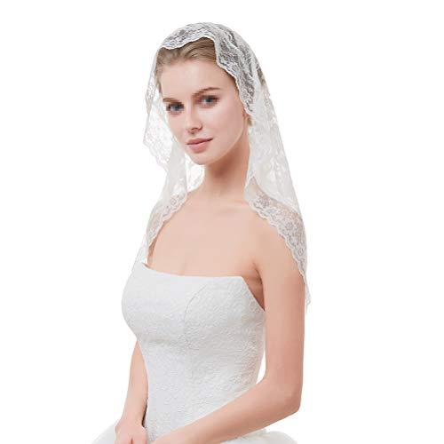 FENICAL Brautschleier Kurzer Hochzeit Spitze Schleier Tüll Schleier für Braut Kopfschmuck (weiß)