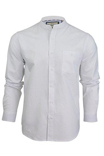 Herren Shirt 'Augustus' mit Grandad-Kragen von Brave Soul, langärmelig (Optic Weiß) M (Grandad-kragen-shirt)
