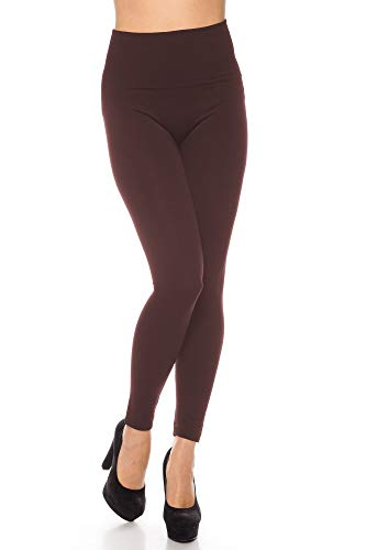 Braune Leggings (Kendindza Damen Thermo-Leggings gefüttert mit Innen-Fleece Basic Blickdicht, Braun, Large / X-Large)