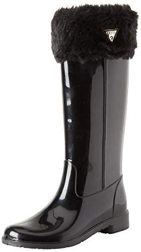Guess Damen Ribe Hohe Stiefel, Schwarz Black, 39 EU